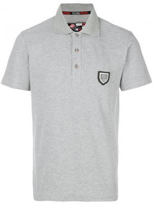 Рубашка-поло с бляшкой логотипом Plein Sport. Цвет: серый