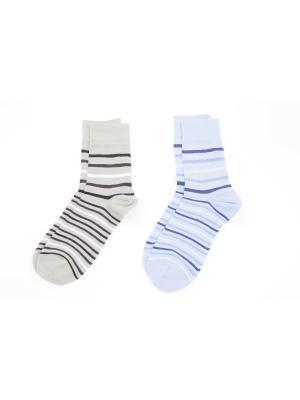 Носки, 2 пары Cascatto. Цвет: голубой, бежевый