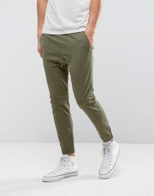 Hollister Зеленые узкие джоггеры в стиле милитари. Цвет: зеленый