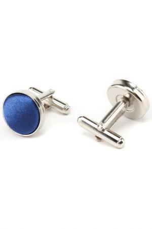 Запонки классика синяя ткань Churchill accessories. Цвет: серебряный
