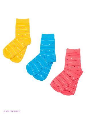 Носки детские, 3 пары БРЕСТСКИЕ. Цвет: бирюзовый, светло-желтый, персиковый