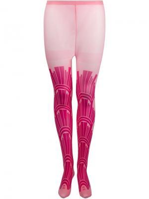 Колготки с принтом Sister Original. Цвет: розовый и фиолетовый