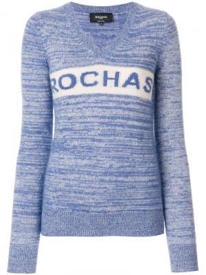 Джемпер с V-образным вырезом и логотипом Rochas. Цвет: синий