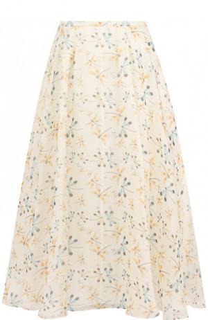 Шелковая юбка-миди с принтом Rochas. Цвет: бежевый