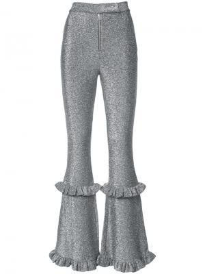 Расклешенные спортивные брюки Dilara Findikoglu. Цвет: металлический
