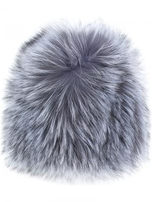 Классическая шапка Yves Salomon. Цвет: серый