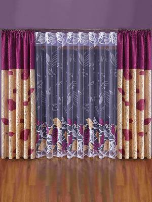 Комплект штор Wisan. Цвет: бордовый, персиковый