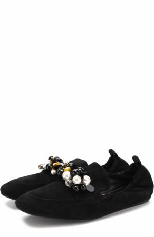 Замшевые слиперы с декоративной отделкой Lanvin. Цвет: черный
