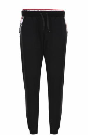 Хлопковые домашние брюки с манжетами на резинке Moschino. Цвет: черный