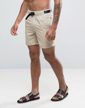 ASOS Песочные шорты для плавания средней длины. Цвет: бежевый