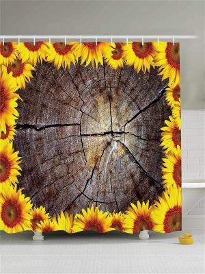 Фотоштора для ванной В коричневых тонах, 180*200 см Magic Lady. Цвет: горчичный, желтый, коричневый, кремовый, оранжевый, серо-коричневый