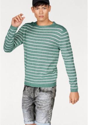 Пуловер JOHN DEVIN. Цвет: зеленый меланжевый/молочно белый, синий меланжевый/молочно белый, черный меланжевый/молочно-белый