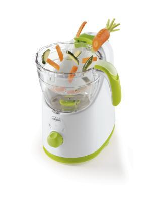 Пароварка-блендер 3 в 1 Chicco Easy Meal. Цвет: белый, прозрачный, светло-зеленый