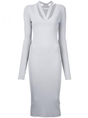 Платье с ремешками на груди Dion Lee. Цвет: серый
