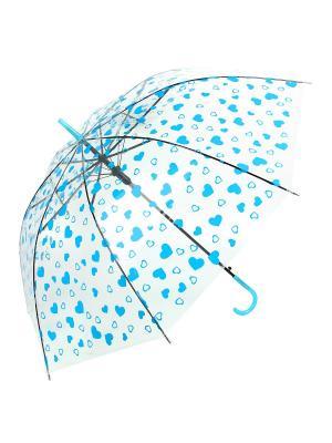 Зонт Сердечки, 53 см. Amico. Цвет: голубой