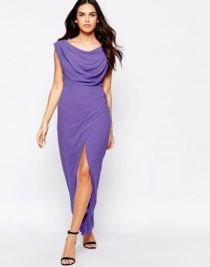 VLabel London Платье макси с разрезом Priory. Цвет: фиолетовый