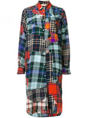 Лоскутное платье-рубашка в клетку Wunderkind. Цвет: многоцветный