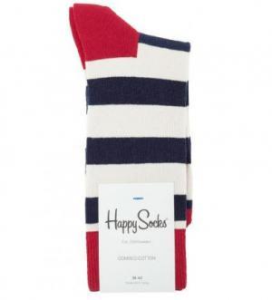 Хлопковые носки в полоску Happy Socks. Цвет: синий