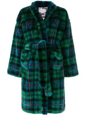 Свободное пальто в шотландку Esteban Cortazar. Цвет: синий