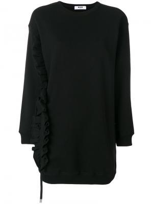 Frilled detail elongated sweatshirt MSGM. Цвет: чёрный