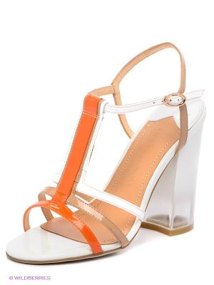 Босоножки Laura Valorosa. Цвет: оранжевый, белый, бежевый