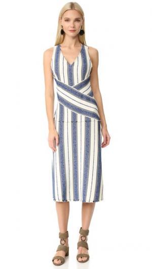 Полосатое платье Marine EDUN. Цвет: цвет морской волны с оттенками