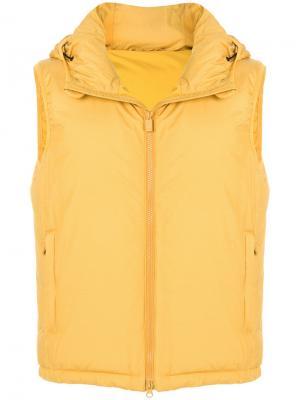 Жилетка-пуховик с капюшоном Aspesi. Цвет: жёлтый и оранжевый