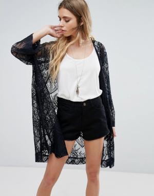 Ganni Кружевной пиджак-кимоно Larkin. Цвет: темно-синий
