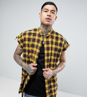 Sixth June Оверсайз-рубашка без рукавов с рваной отделкой. Цвет: желтый