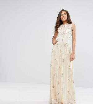 Maya Tall Кружевное платье макси с отделкой. Цвет: розовый
