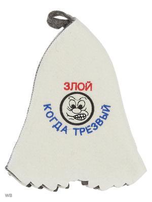 Шапка для бани с вышивкой в косметичке Злой когда трезвый Метиз. Цвет: белый, серый