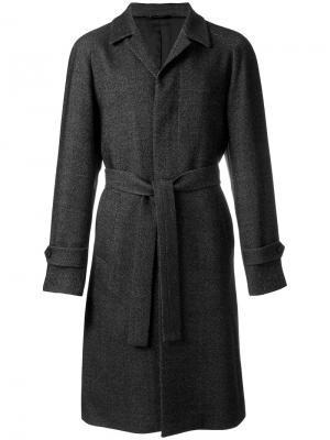 Пальто под пояс Hevo. Цвет: серый