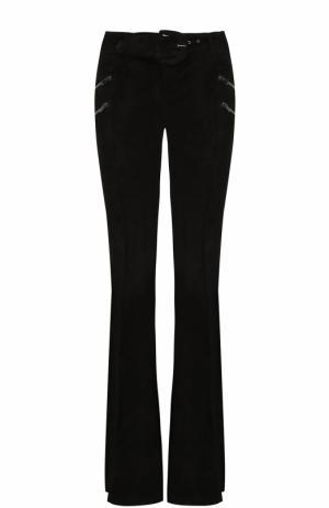 Расклешенные брюки из замши DROMe. Цвет: черный