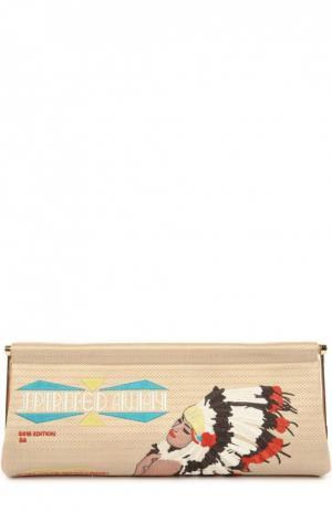 Клатч Spirited Away Magazine с вышивкой Charlotte Olympia. Цвет: светло-коричневый
