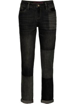 Джинсы мужского фасона с имитацией заплаток (черный деним) bonprix. Цвет: черный деним