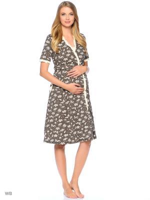 Комплект: халат и сорочка EUROMAMA. Цвет: коричневый, светло-бежевый