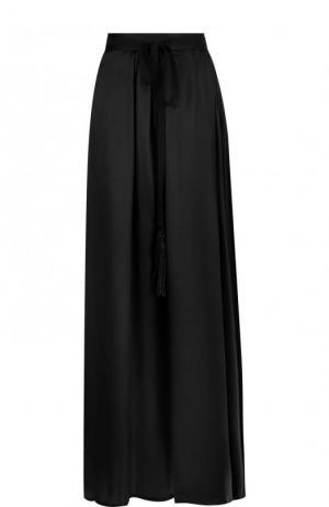 Однотонная юбка-макси из шелка Ann Demeulemeester. Цвет: черный