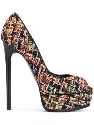 Твидовые туфли на платформе Casadei. Цвет: чёрный