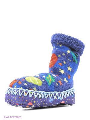 Тапочки-носки противоскользящие BROSS. Цвет: синий, сиреневый