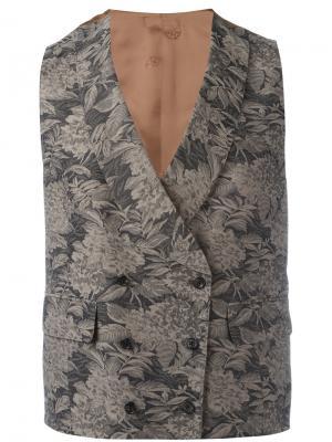 Вышитый жилет с цветочным узором Gabriele Pasini. Цвет: коричневый