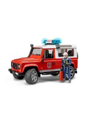Внедорожник Land Rover Defender Station Wagon Пожарная с фигуркой Bruder. Цвет: красный, белый, черный