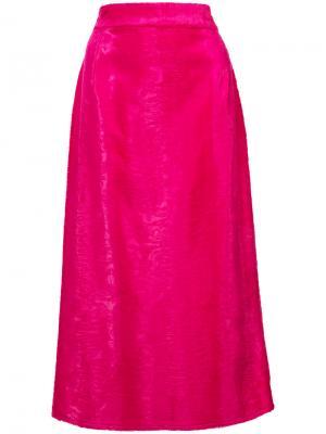 Юбка миди из искусственного меха Sies Marjan. Цвет: розовый и фиолетовый