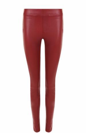 Однотонные кожаные брюки-скинни Helmut Lang. Цвет: красный