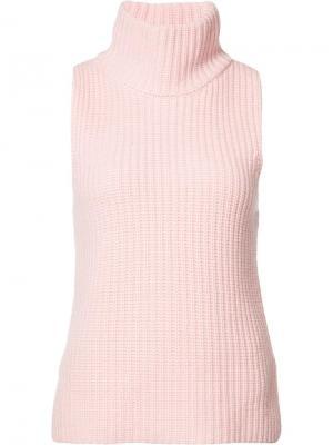 Вязаный топ в рубчик Novis. Цвет: розовый и фиолетовый