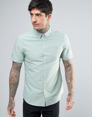 Farah Зеленая приталенная оксфордская рубашка на пуговицах с короткими рукав. Цвет: зеленый