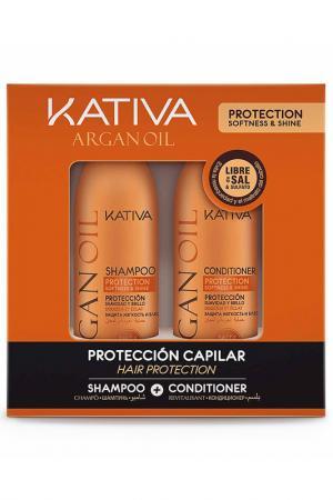 Набор: кондиционер, шампунь Kativa. Цвет: оранжевый