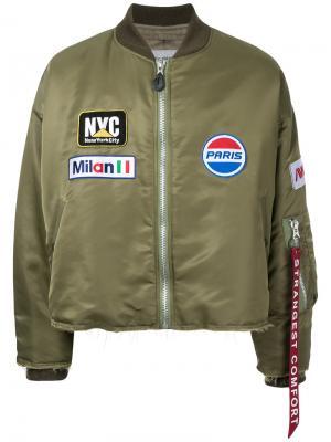 Куртка-бомбер на молнии Doublet. Цвет: зелёный