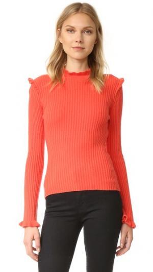 Кашемировый свитер с оборкой Derek Lam 10 Crosby. Цвет: яркий коралловый