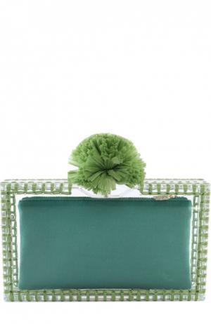 Клатч Pom Pandora с отделкой из рафии Charlotte Olympia. Цвет: зеленый