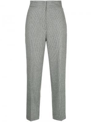 Укороченные брюки в ломаную клетку H Beauty&Youth. Цвет: чёрный